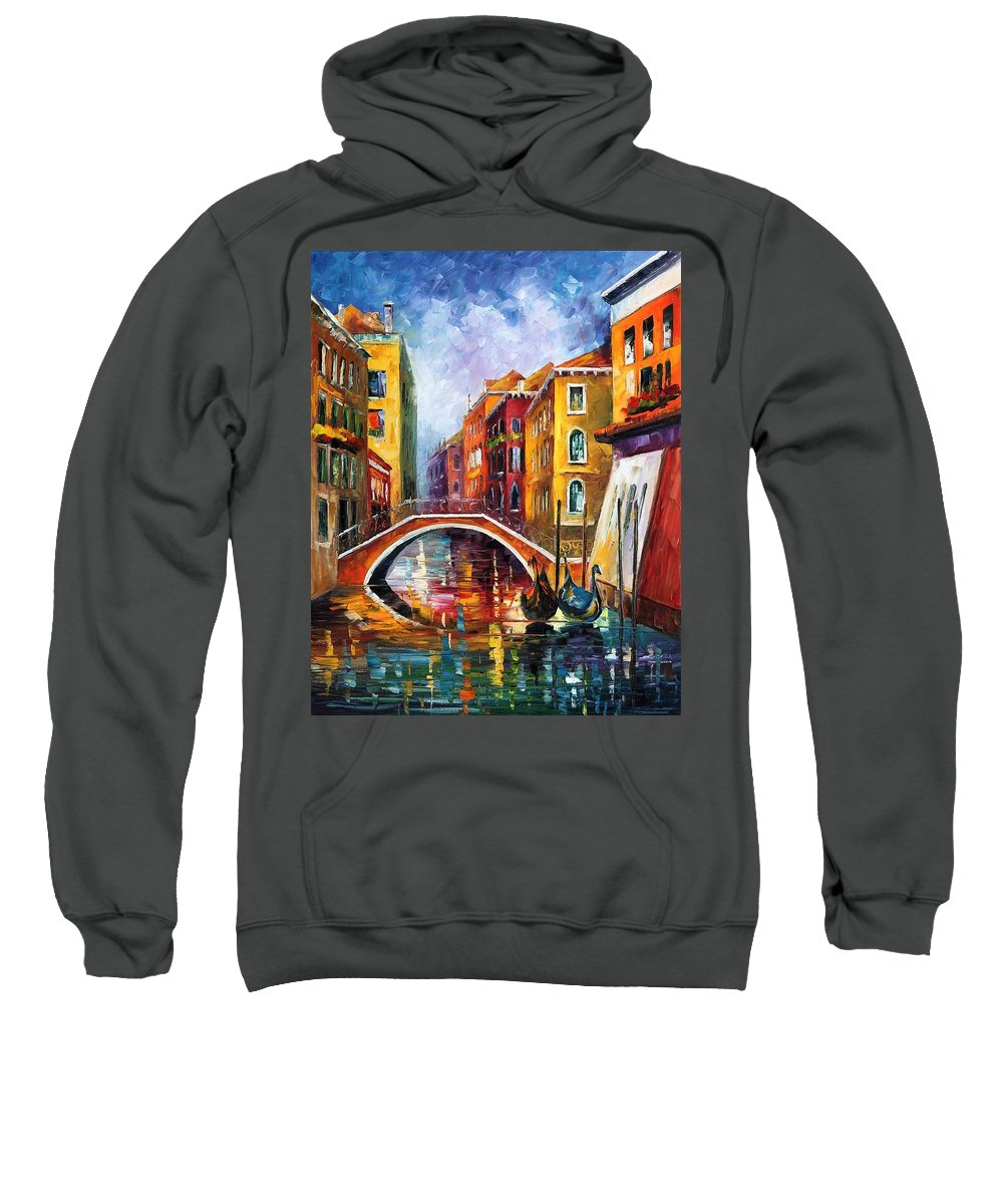 Afremov Sweatshirt featuring the painting Venice Bridge by Leonid Afremov