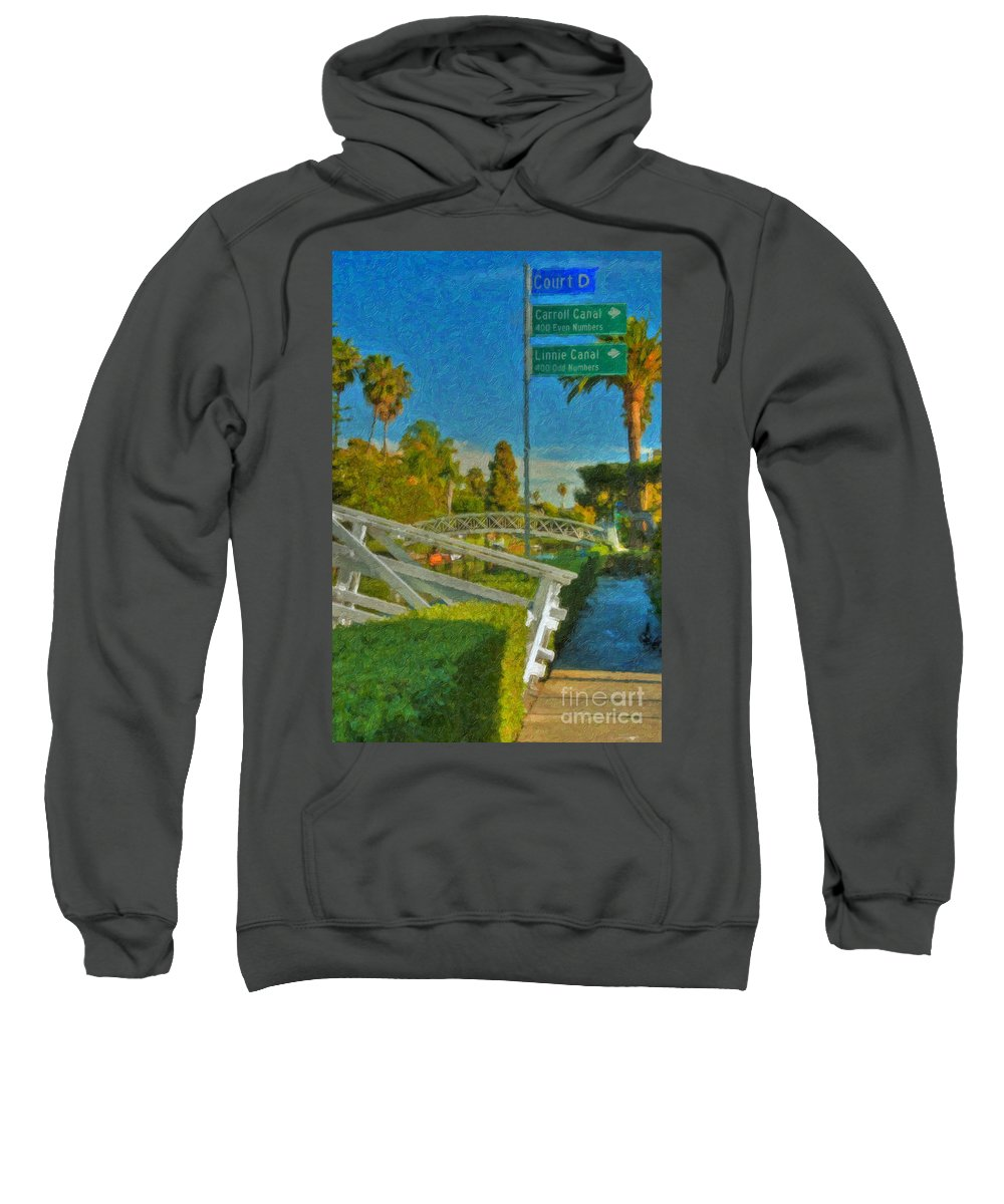 Venice Canal Bridge Signs Sweatshirt featuring the photograph Venice Canal Bridge Signs by David Zanzinger