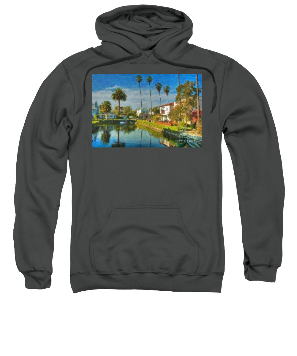 Venice Sweatshirt featuring the photograph Venice Canal Houses Watercolor by David Zanzinger