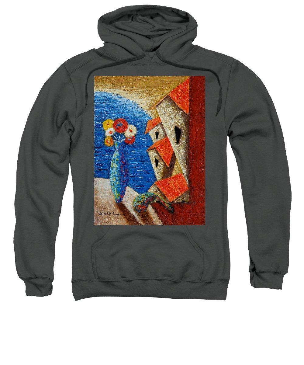 Landscape Sweatshirt featuring the painting Ventana Al Mar by Oscar Ortiz