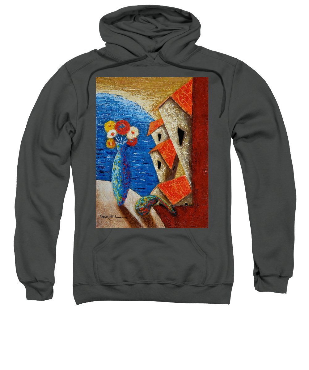 Landscape Sweatshirt featuring the painting Ventana Al Mar by Oscar Ortiz