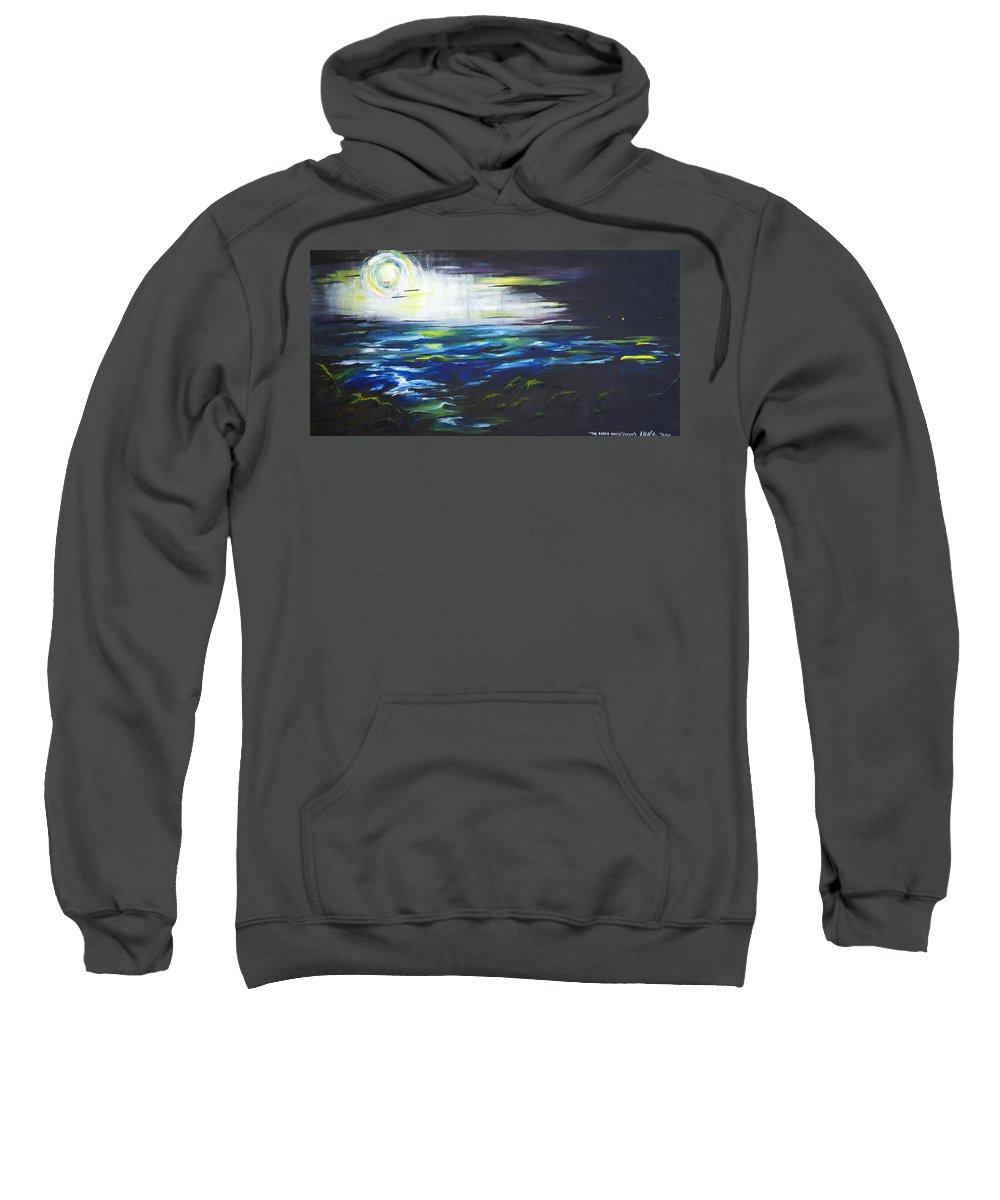 Night Sweatshirt featuring the painting Ventura Seascape At Night by Sheridan Furrer