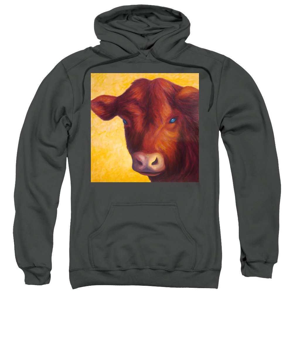 Bull Sweatshirt featuring the painting Vern by Shannon Grissom