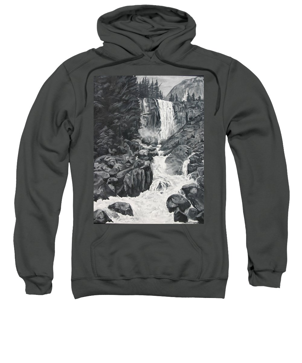 Landscape Sweatshirt featuring the painting Vernal Falls Black And White by Travis Day