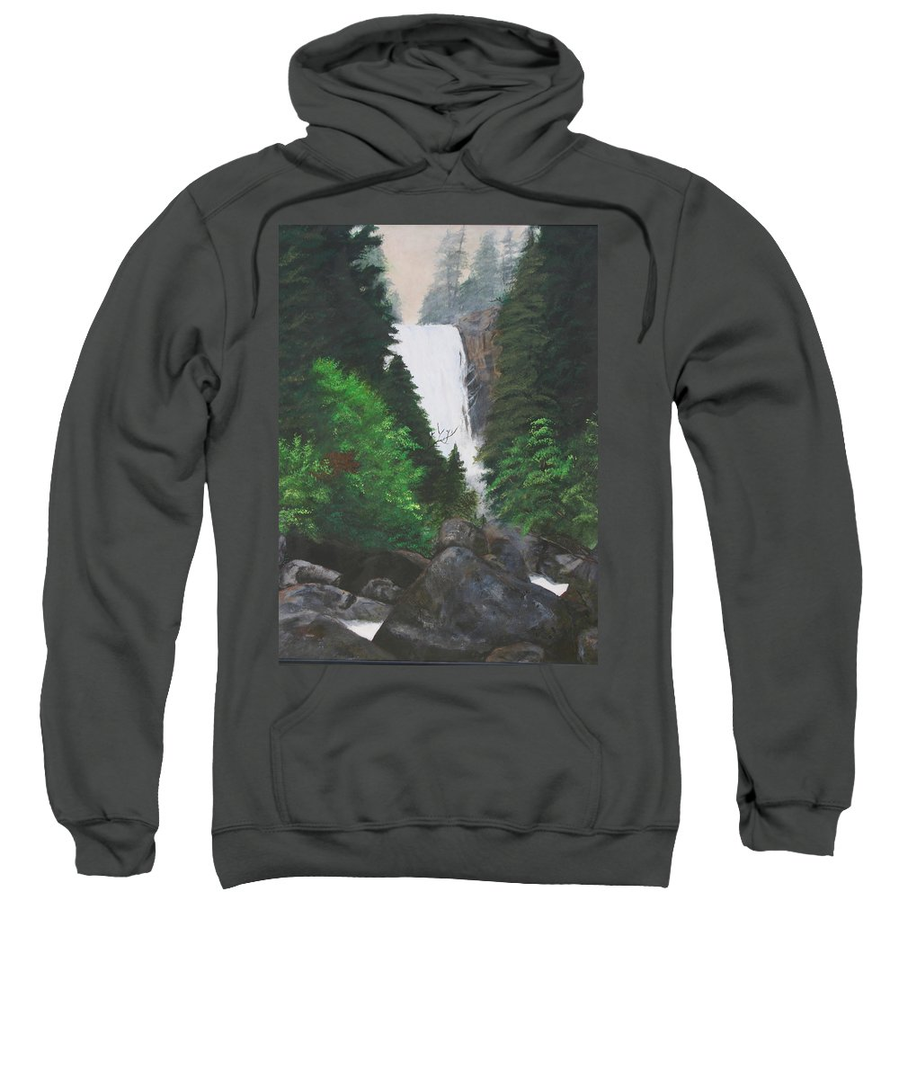 Landscape Sweatshirt featuring the painting Vernal Falls by Travis Day