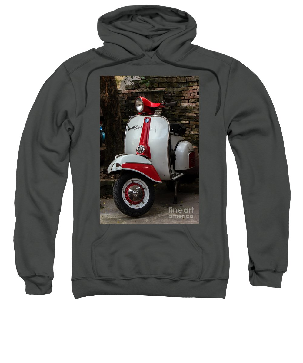 Bike Sweatshirt featuring the photograph Vespa Italiana by Christos Koudellaris