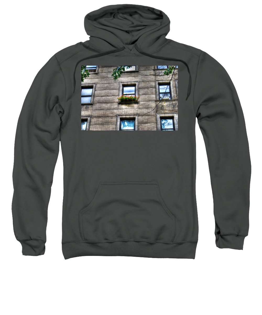 Flowers In A Windowsill Sweatshirt featuring the photograph Vibrance In A Sea Of Grey by Randy Aveille