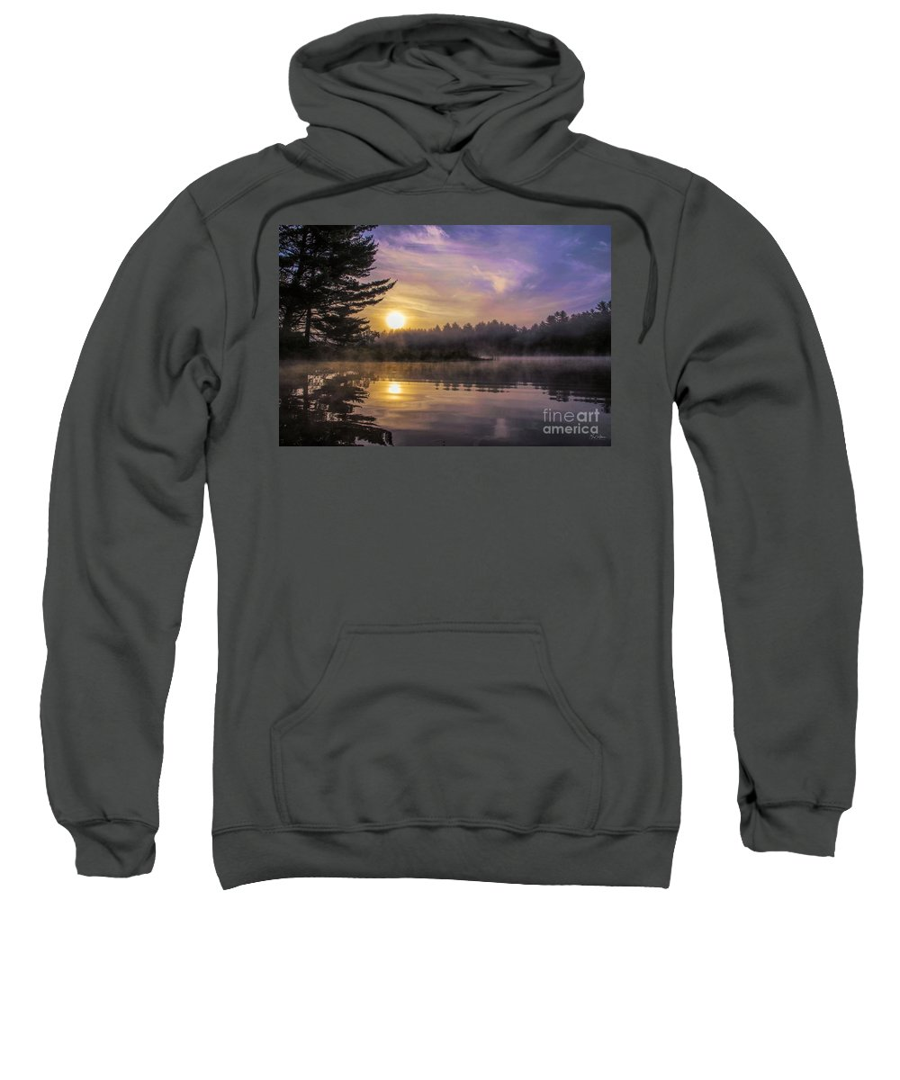 Androscoggin River Sweatshirt featuring the photograph Vibrant Sunrise On The Androscoggin River by Jan Mulherin