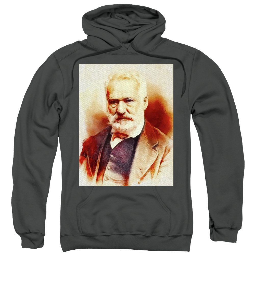 Victor Sweatshirt featuring the painting Victor Hugo, Literary Legend by John Springfield
