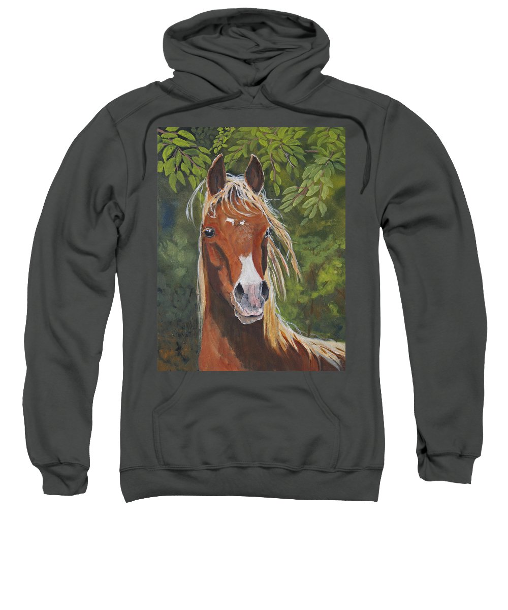 Horse Sweatshirt featuring the painting Victory by Heather Coen