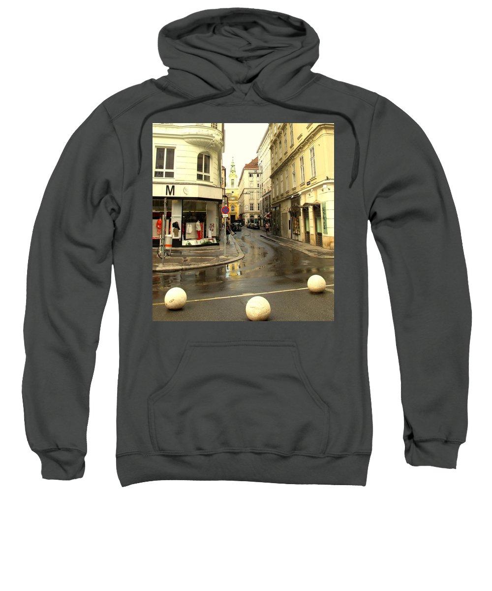 Vienna Sweatshirt featuring the photograph Vienna Corner After The Rain by Ian MacDonald