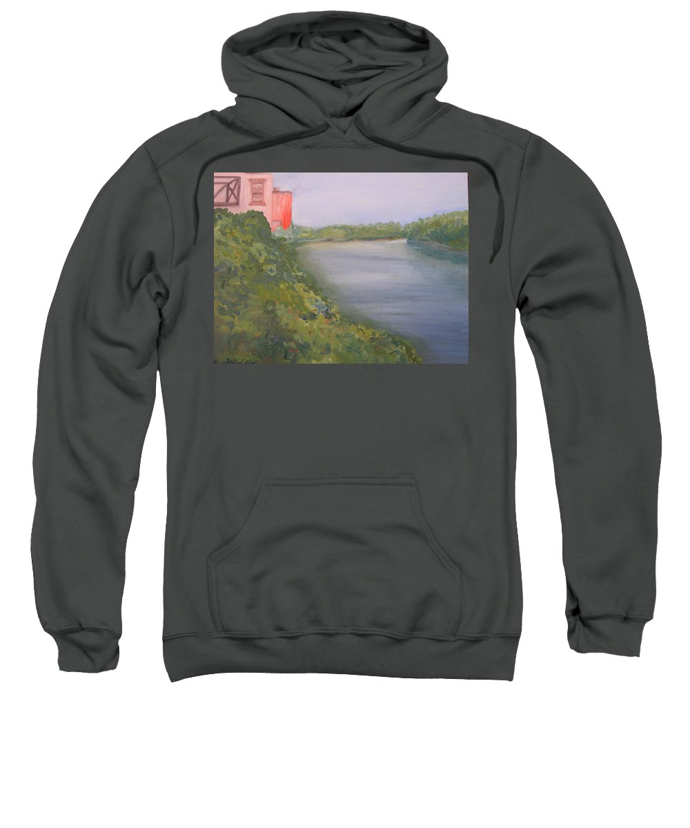 Landscape River Water Nature Sweatshirt featuring the painting View From Edmund Pettus Bridge by Patricia Caldwell