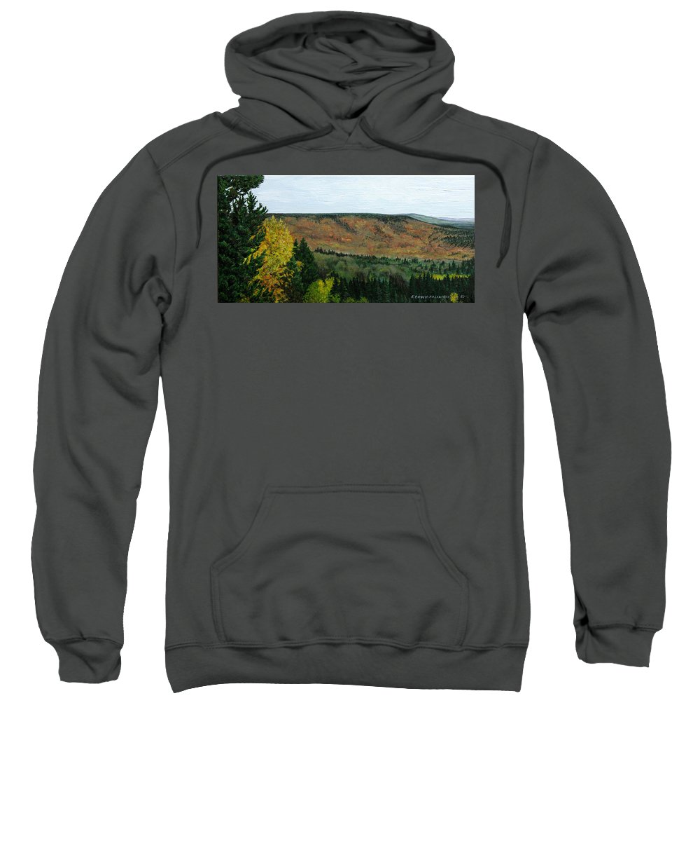 Landscape Sweatshirt featuring the painting View From Shinning Bank by Elaine Booth-Kallweit