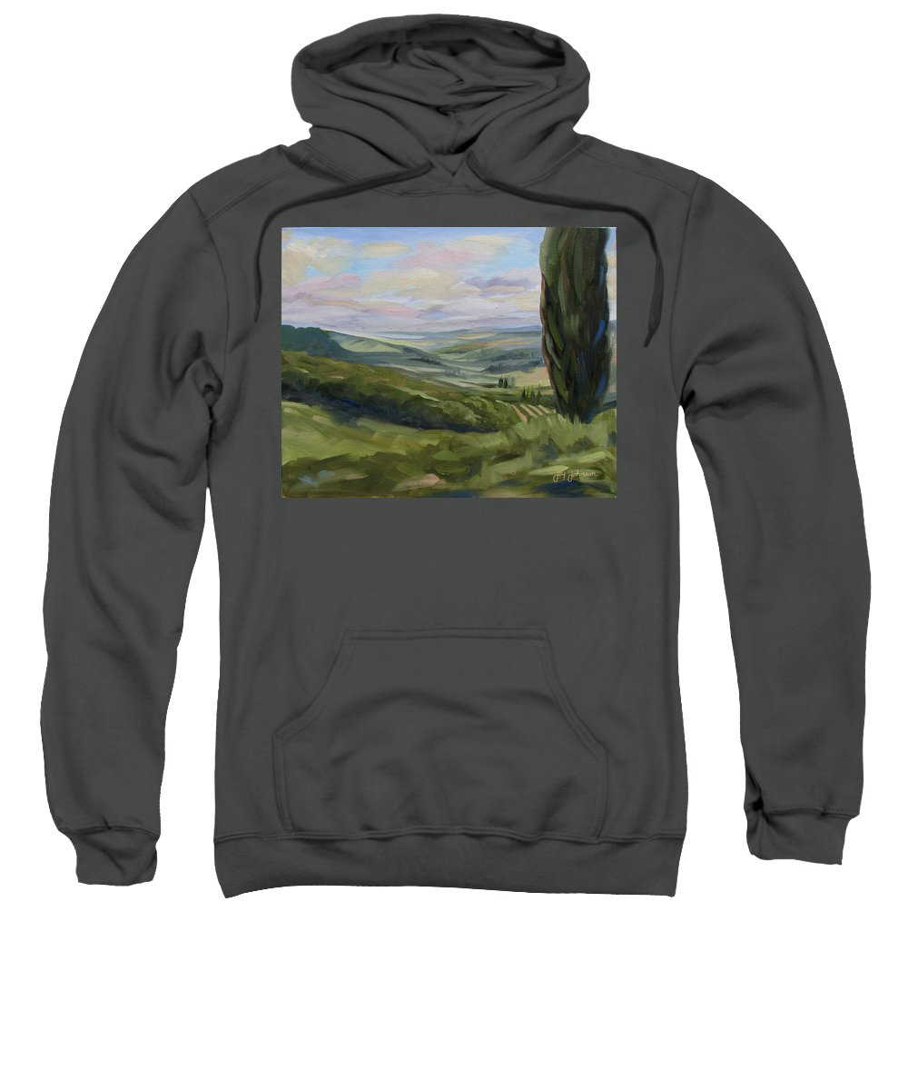 Landscape Sweatshirt featuring the painting View From Sienna by Jay Johnson