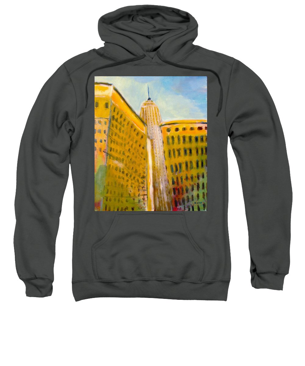 Abstract Cityscape Sweatshirt featuring the painting View From The 33 St by Habib Ayat
