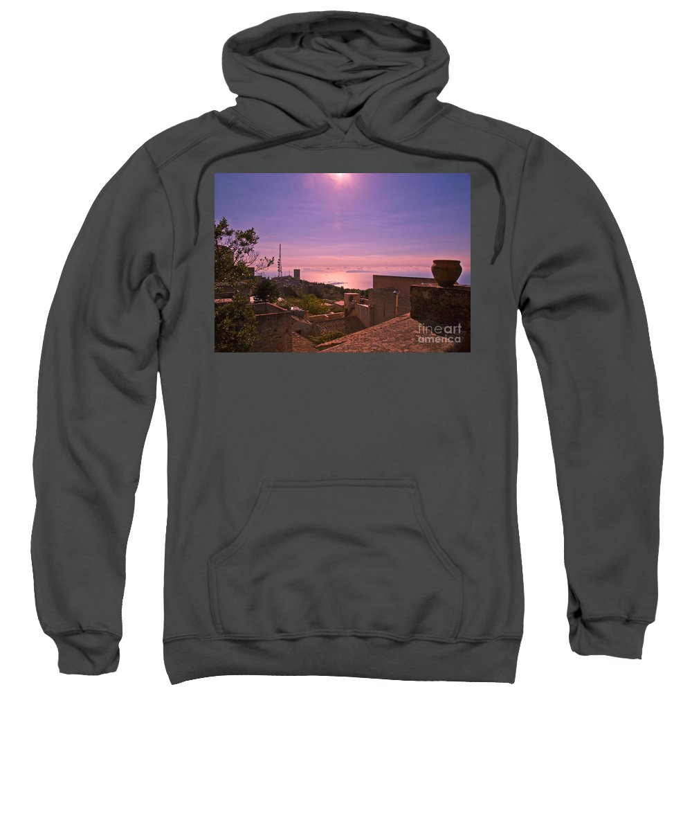 Sunset Sweatshirt featuring the photograph View From The Top In Sicily 2 by Madeline Ellis