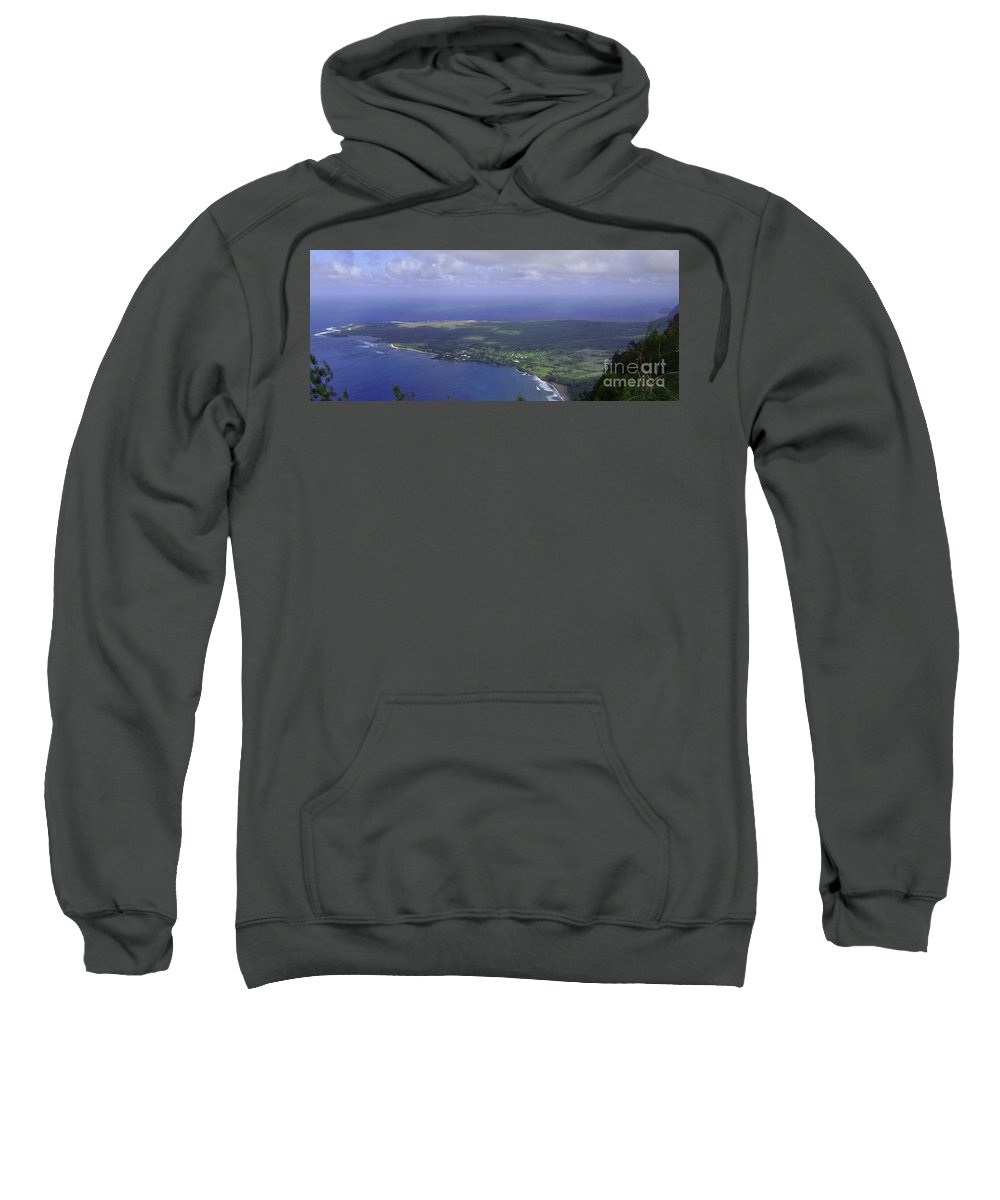 Molokai Sweatshirt featuring the photograph View Of Kaulapapa by Terry Holliday