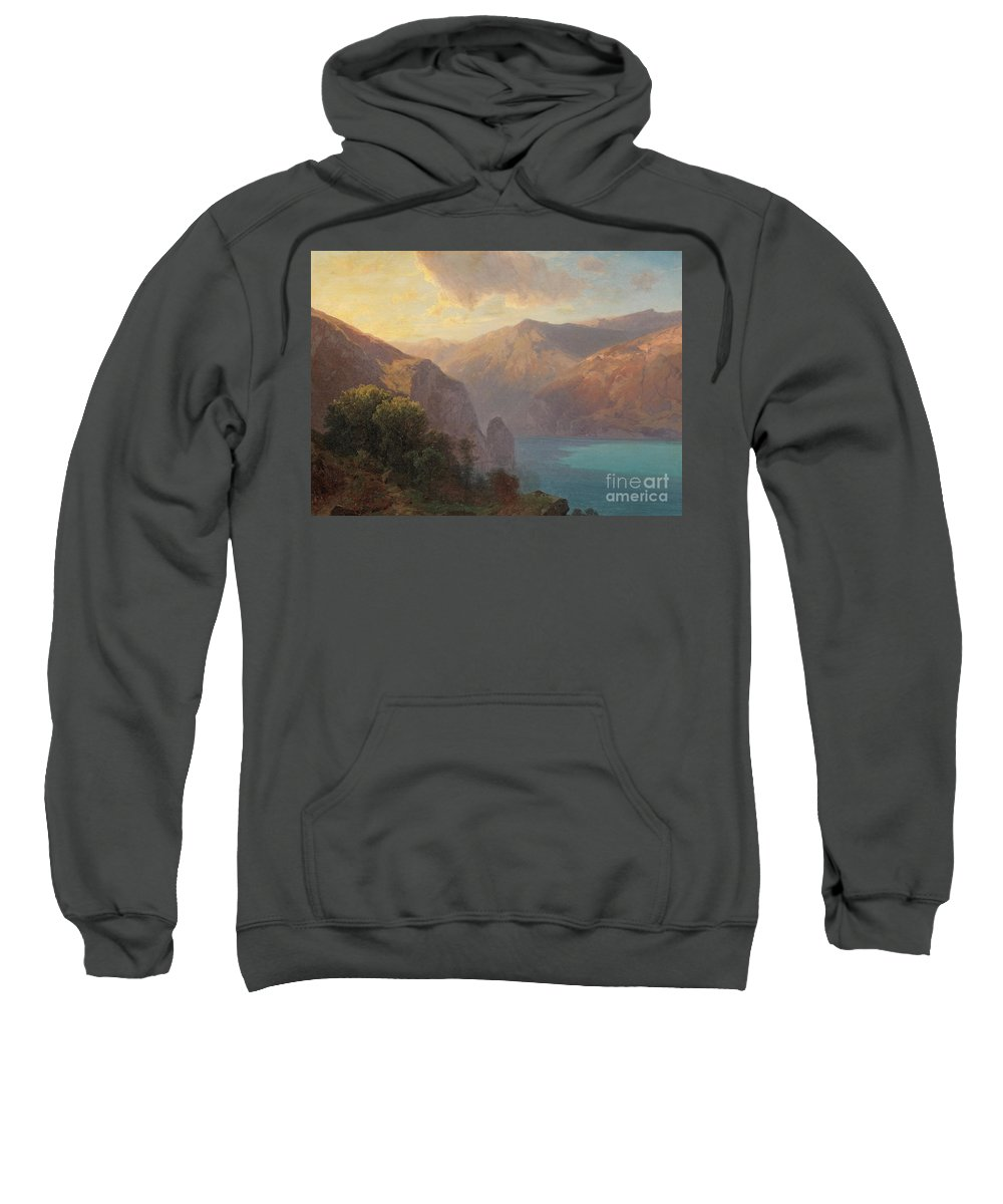View Sweatshirt featuring the painting View Of Lac De Lucerne Seen From The Seelisberg, Switzerland by Alexandre Calame