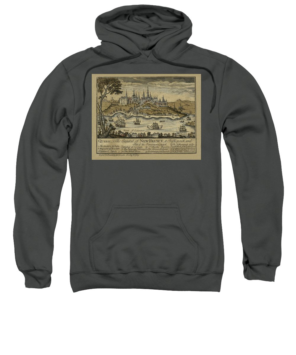 Vintage Quebec City Sweatshirt featuring the photograph View Of Quebec City 1759 by Andrew Fare