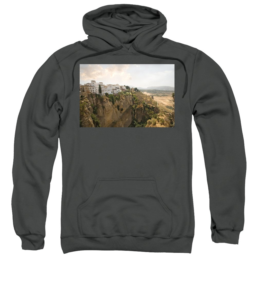 Ronda Sweatshirt featuring the photograph View Over The Tajo Gorge Ronda Home Of Bullfighting by Mal Bray