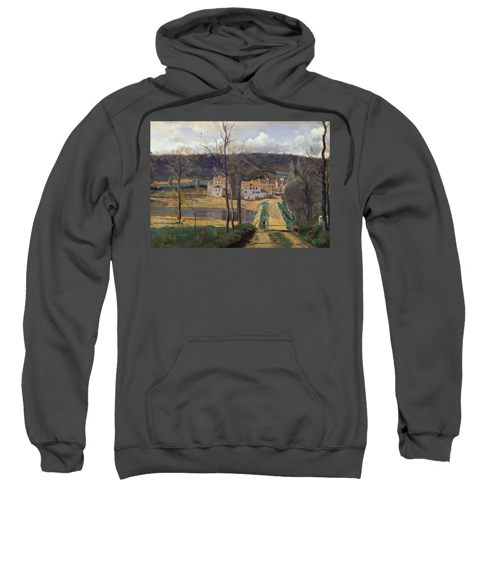 French Sweatshirt featuring the painting Ville Davray by Jean Baptiste Camille Corot