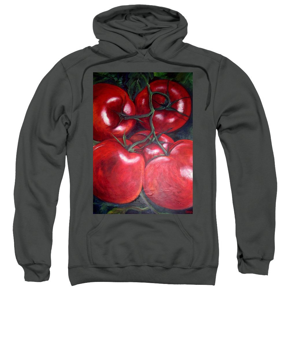 Red Tomatoes Sweatshirt featuring the painting Vine Ripened by Georgia Mansur
