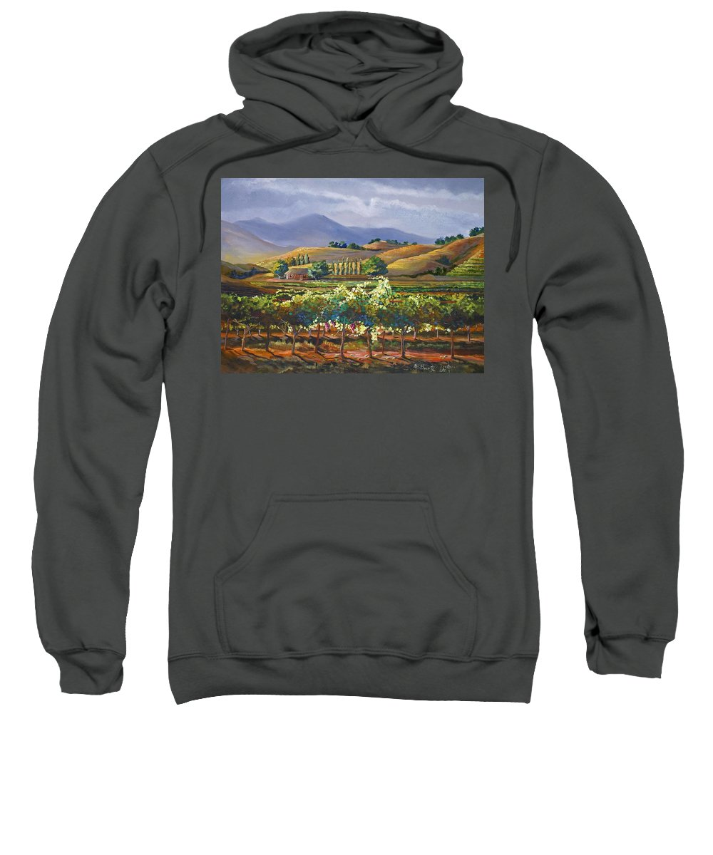 Vineyard Sweatshirt featuring the painting Vineyard In California by Heather Coen