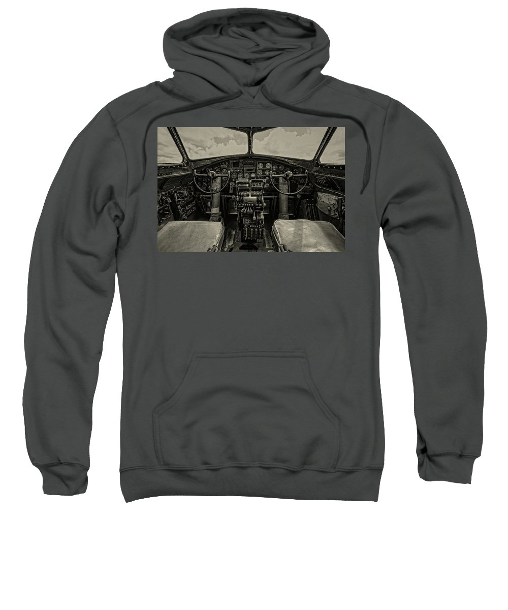 B17 Sweatshirt featuring the photograph Vintage B-17 Cockpit by Mike Burgquist