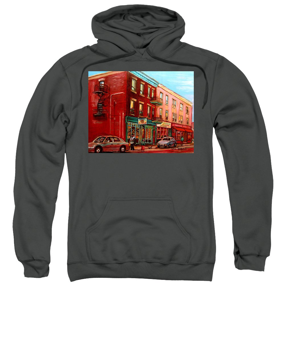 St Viateur Bagel Shop Montreal Street Scenes Sweatshirt featuring the painting Vintage Montreal by Carole Spandau