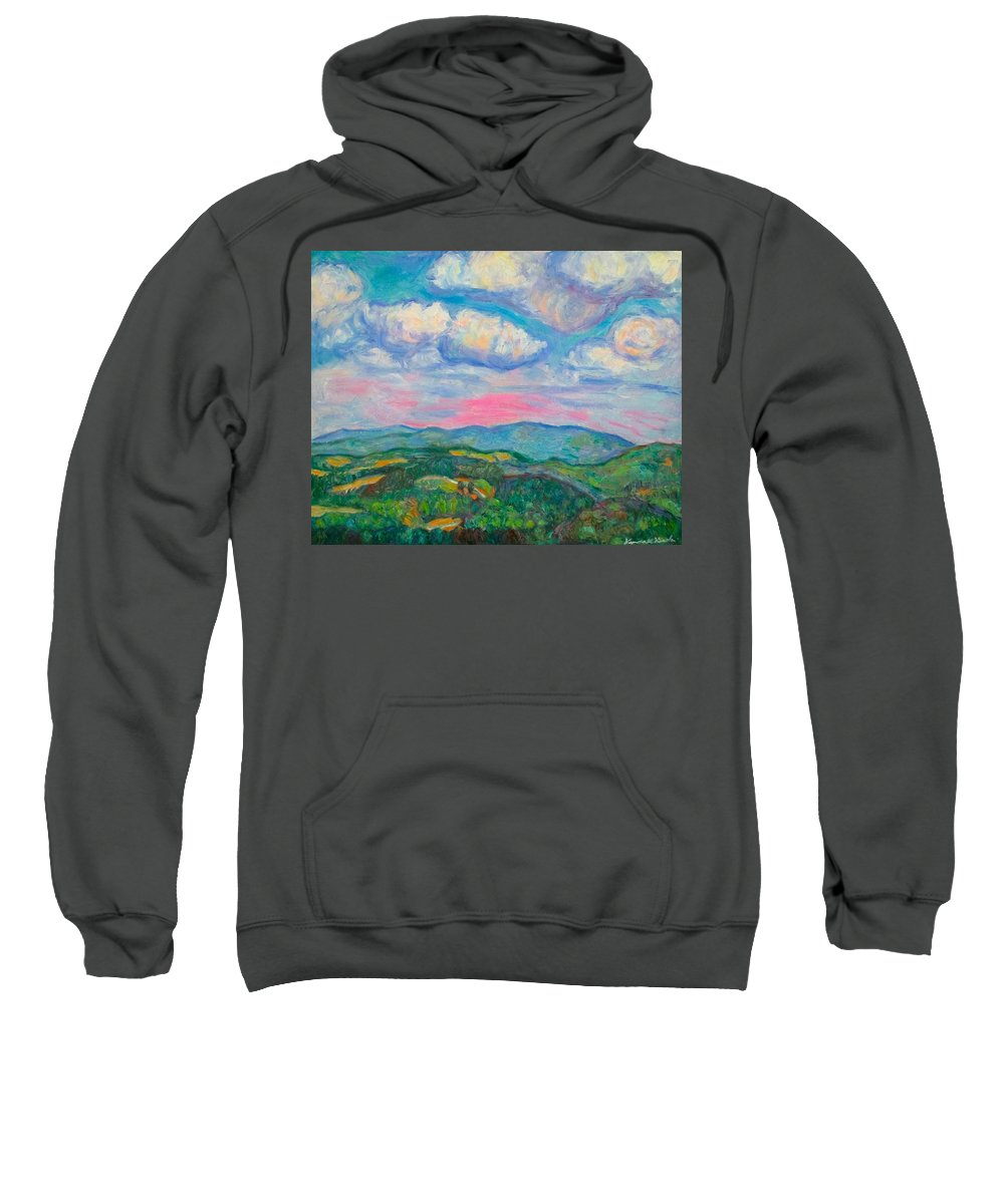 Mountains Sweatshirt featuring the painting Violet Evening On Rocky Knob by Kendall Kessler