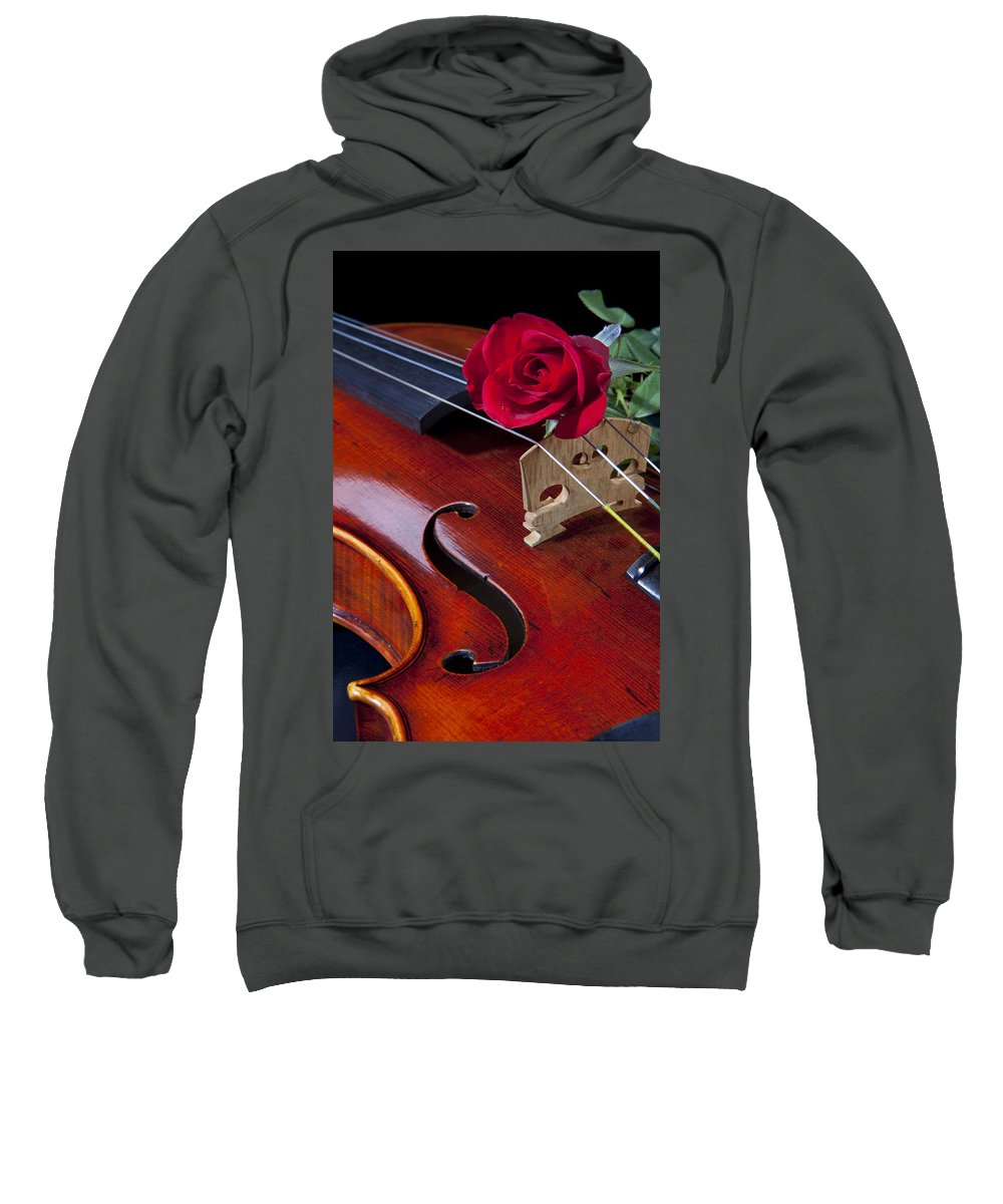 Violin Sweatshirt featuring the photograph Violin And Red Rose by M K Miller
