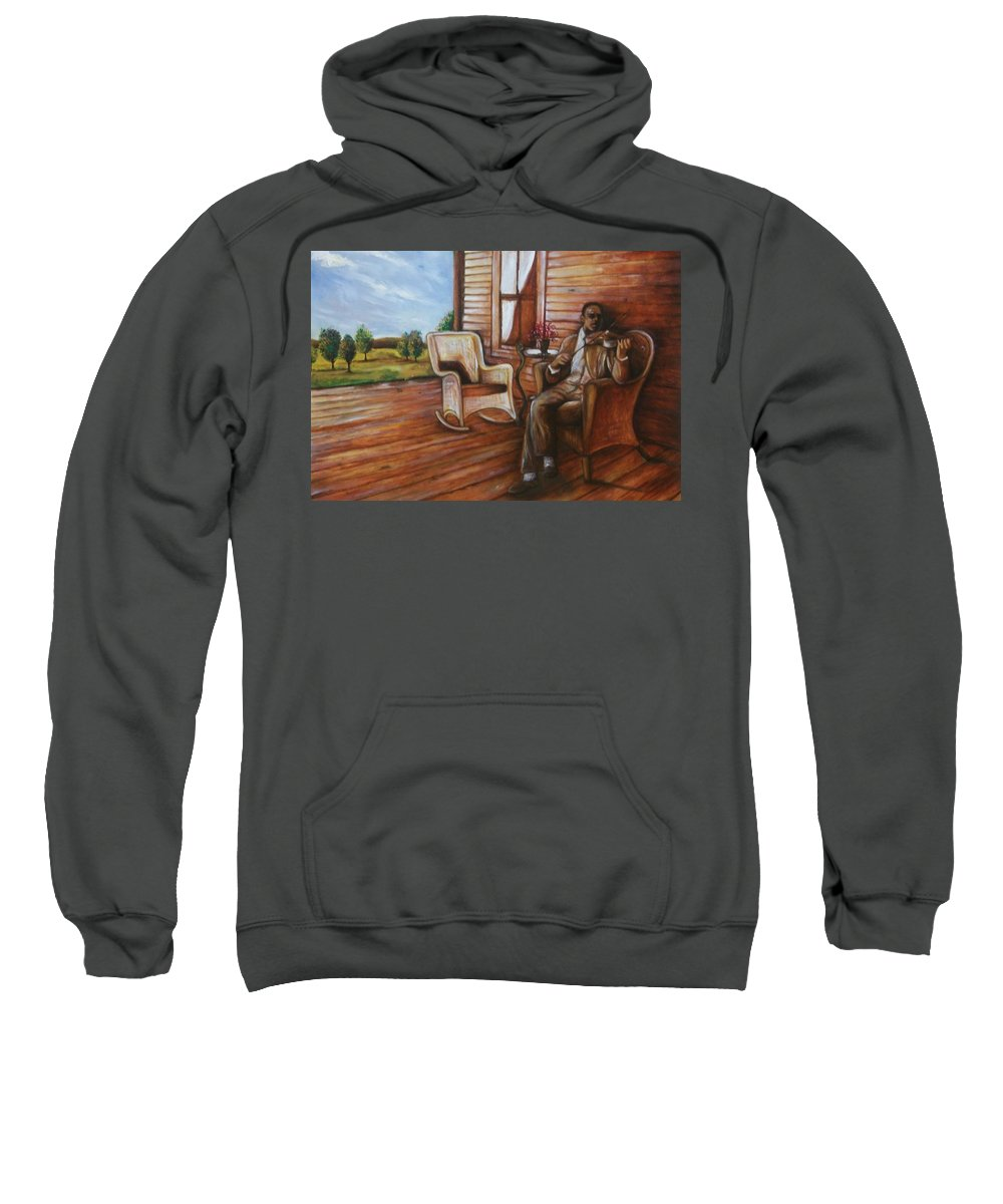 Emery Franklin Sweatshirt featuring the painting Violin Man by Emery Franklin