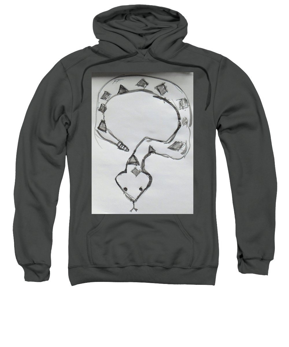 Snake Sweatshirt featuring the drawing Viper by Samuel Zylstra