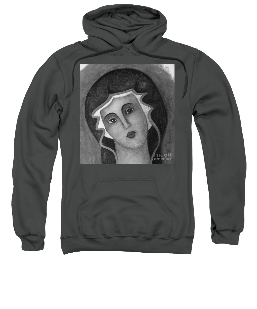 Virgin Mary Sweatshirt featuring the painting Virgin Mary by Vesna Antic