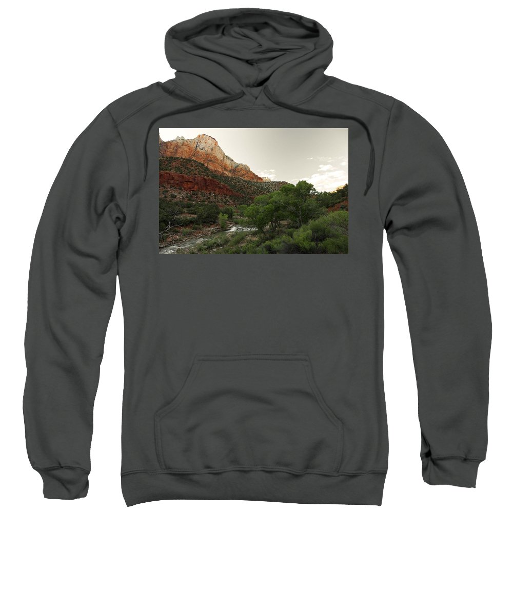 Zion National Park Sweatshirt featuring the photograph Virgin River Hike - 1 by Hany J