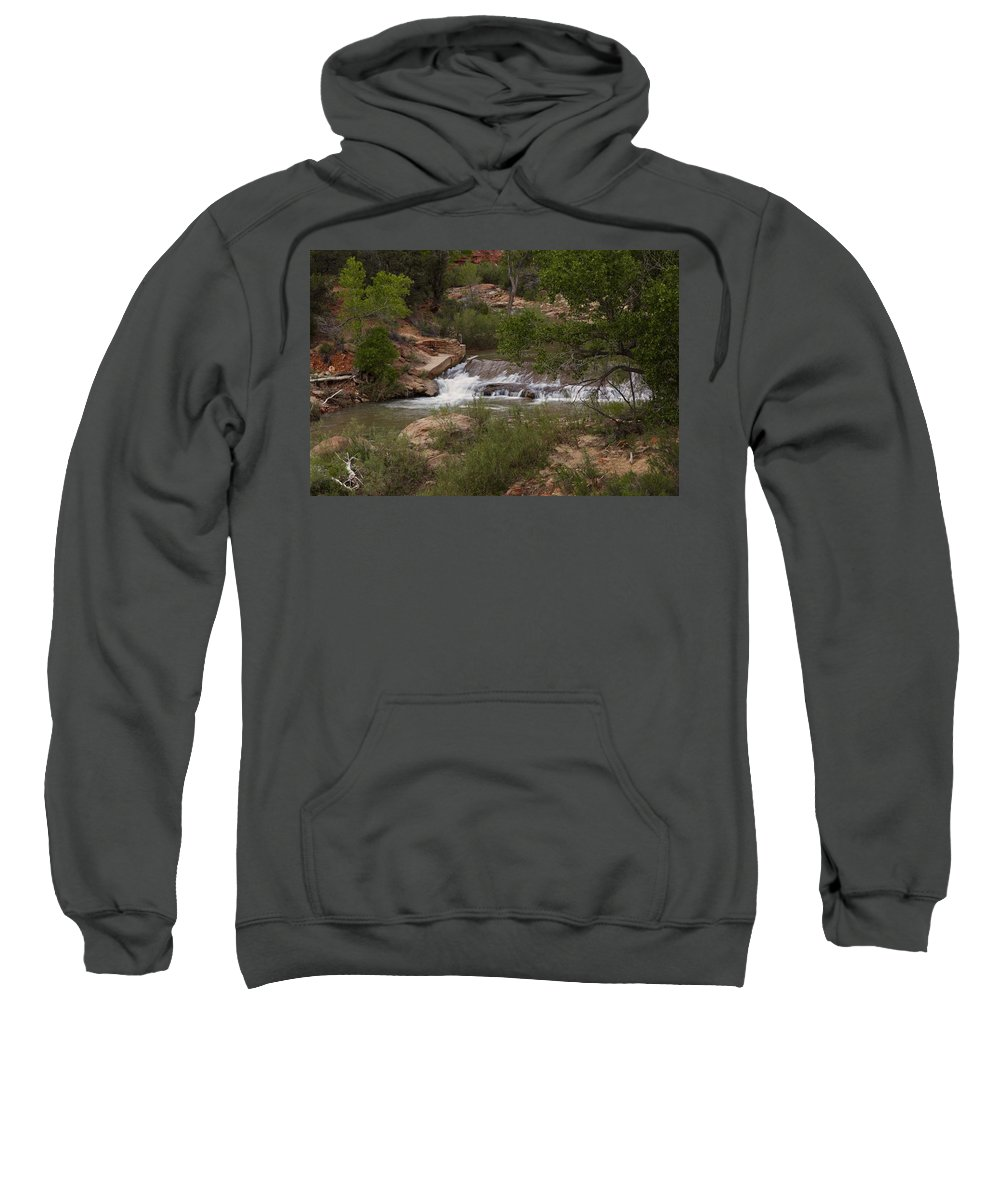 Zion National Park Sweatshirt featuring the photograph Virgin River Hike - 2 by Hany J