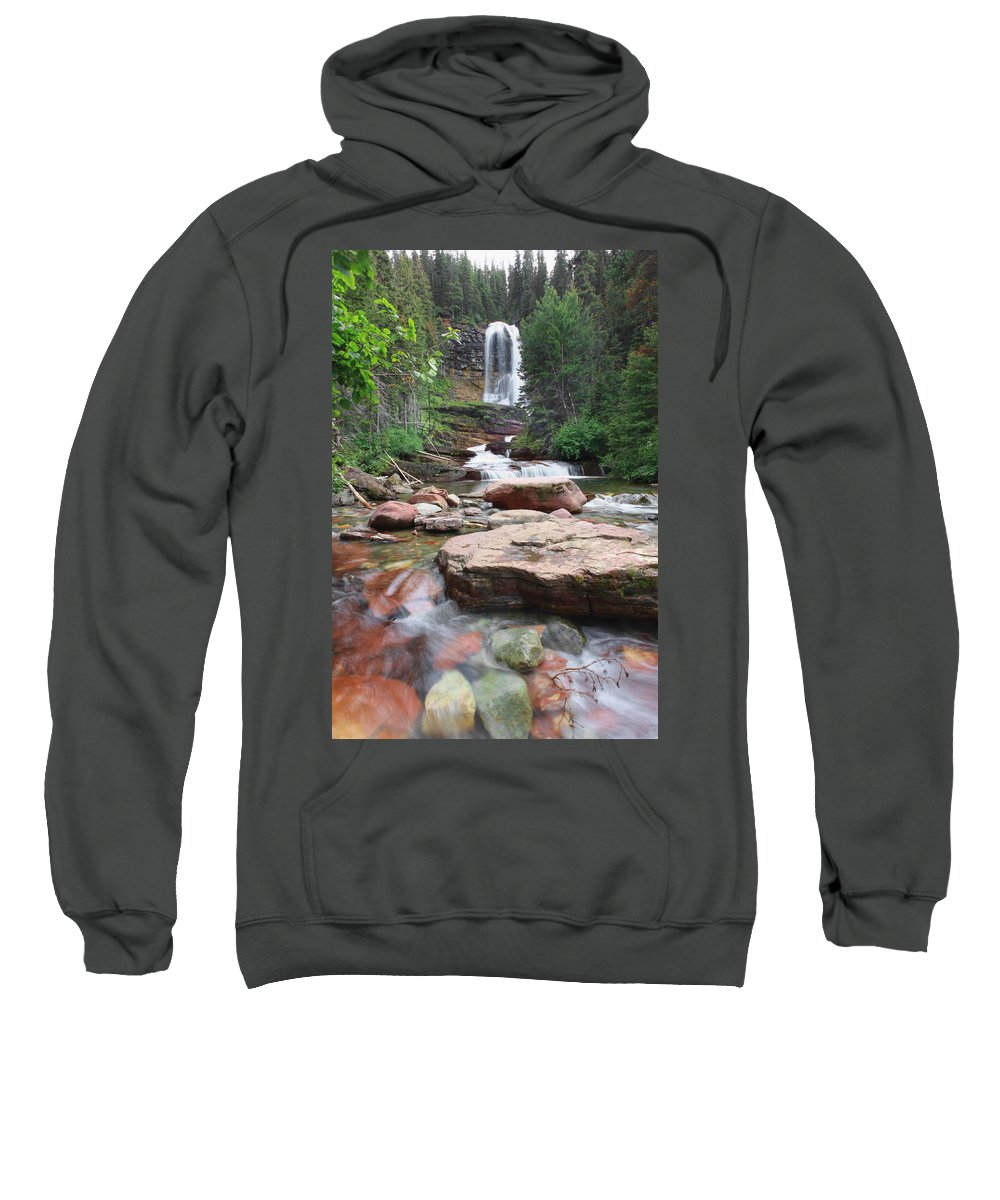 Virginia Falls Sweatshirt featuring the photograph Virginia Falls - Glacier N.p. by Shari Jardina