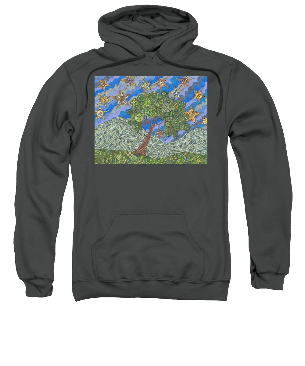 Landscape Sweatshirt featuring the drawing Virginia Quilts by Pamela Schiermeyer