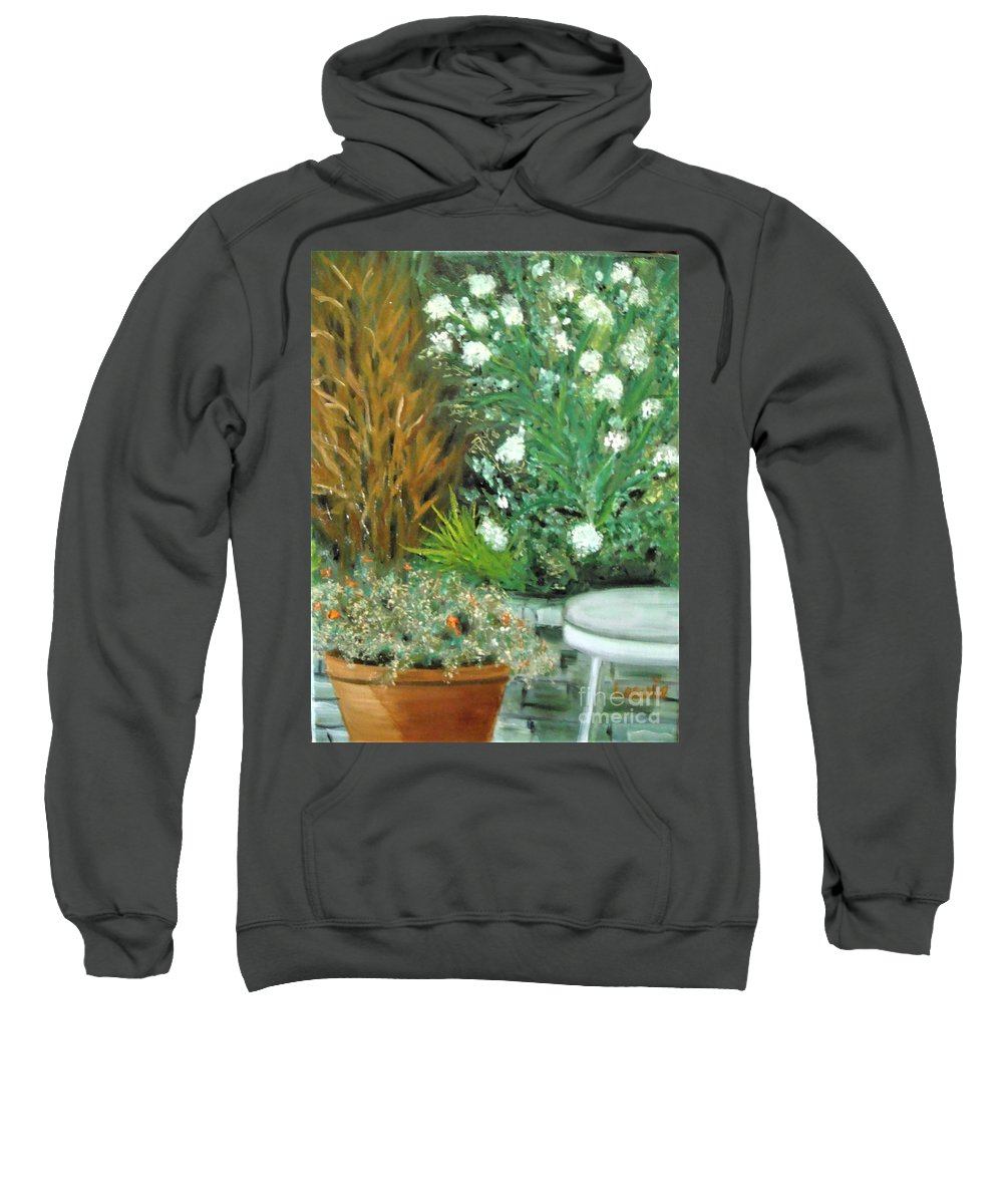 Virginia Sweatshirt featuring the painting Virginia's Garden by Laurie Morgan