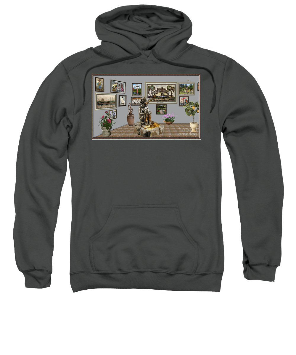 Modern Painting Sweatshirt featuring the mixed media Virtual Exhibition - Source 34 by Pemaro
