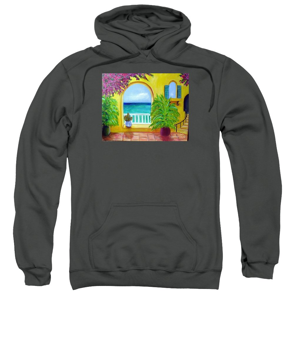 Patio Sweatshirt featuring the painting Vista Del Agua by Laurie Morgan