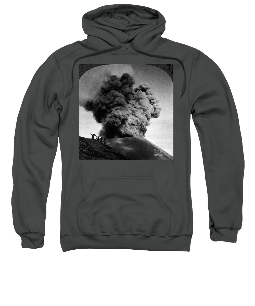 1910 Sweatshirt featuring the photograph Volcano: Java, 1910 by Granger