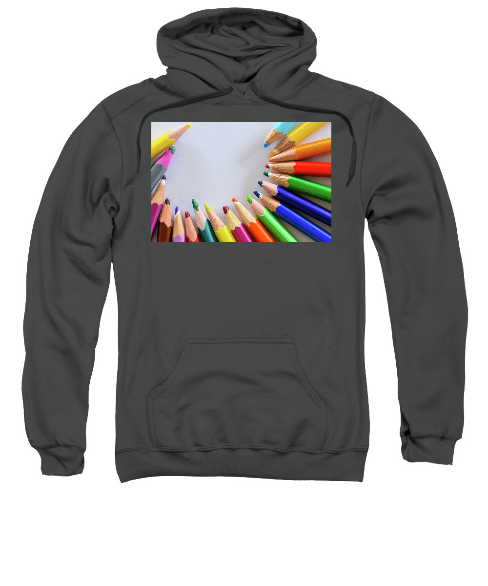 Background Sweatshirt featuring the photograph Vortex Of Colored Pencils by Nicola Simeoni