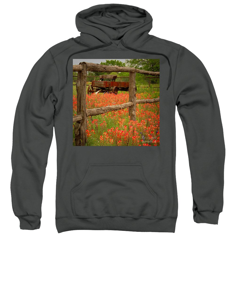 Spring Sweatshirt featuring the photograph Wagon In Paintbrush - Texas Wildflowers Wagon Fence Landscape Flowers by Jon Holiday