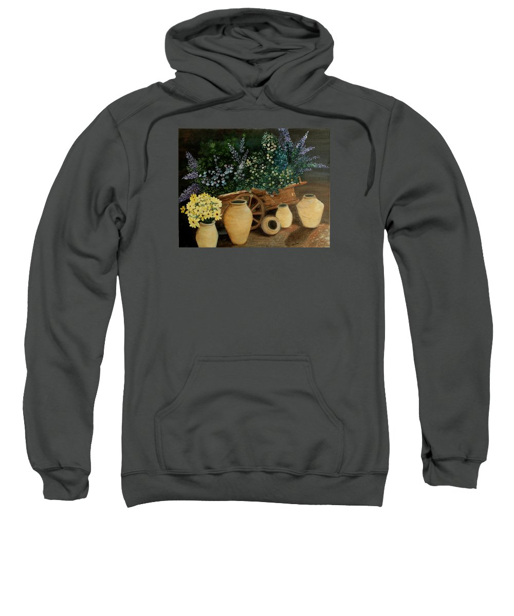 Wagon Sweatshirt featuring the painting Wagon Of Fall Beauty by Leisa Robison