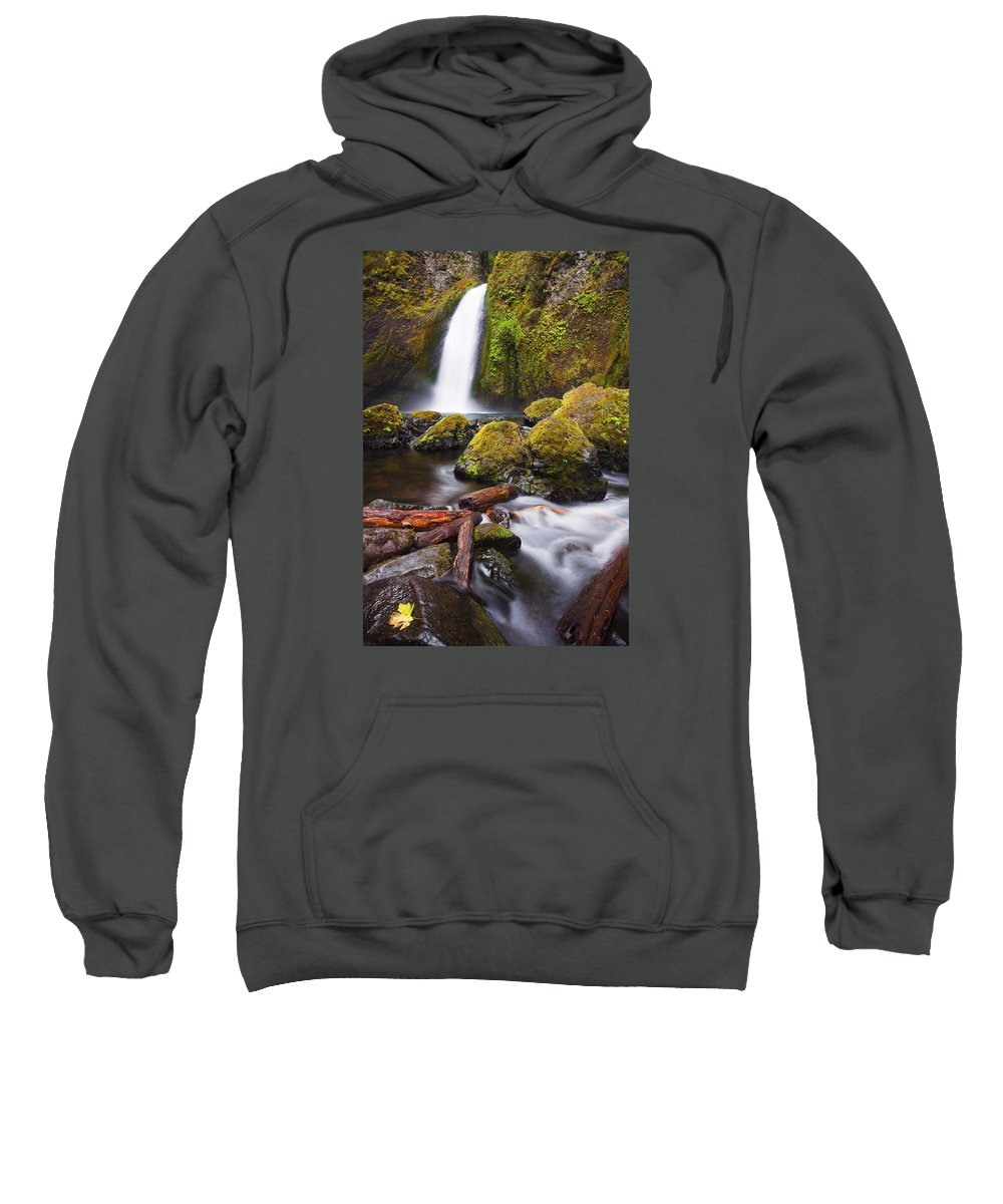 Waterfall Sweatshirt featuring the photograph Wahclella by Mike Dawson