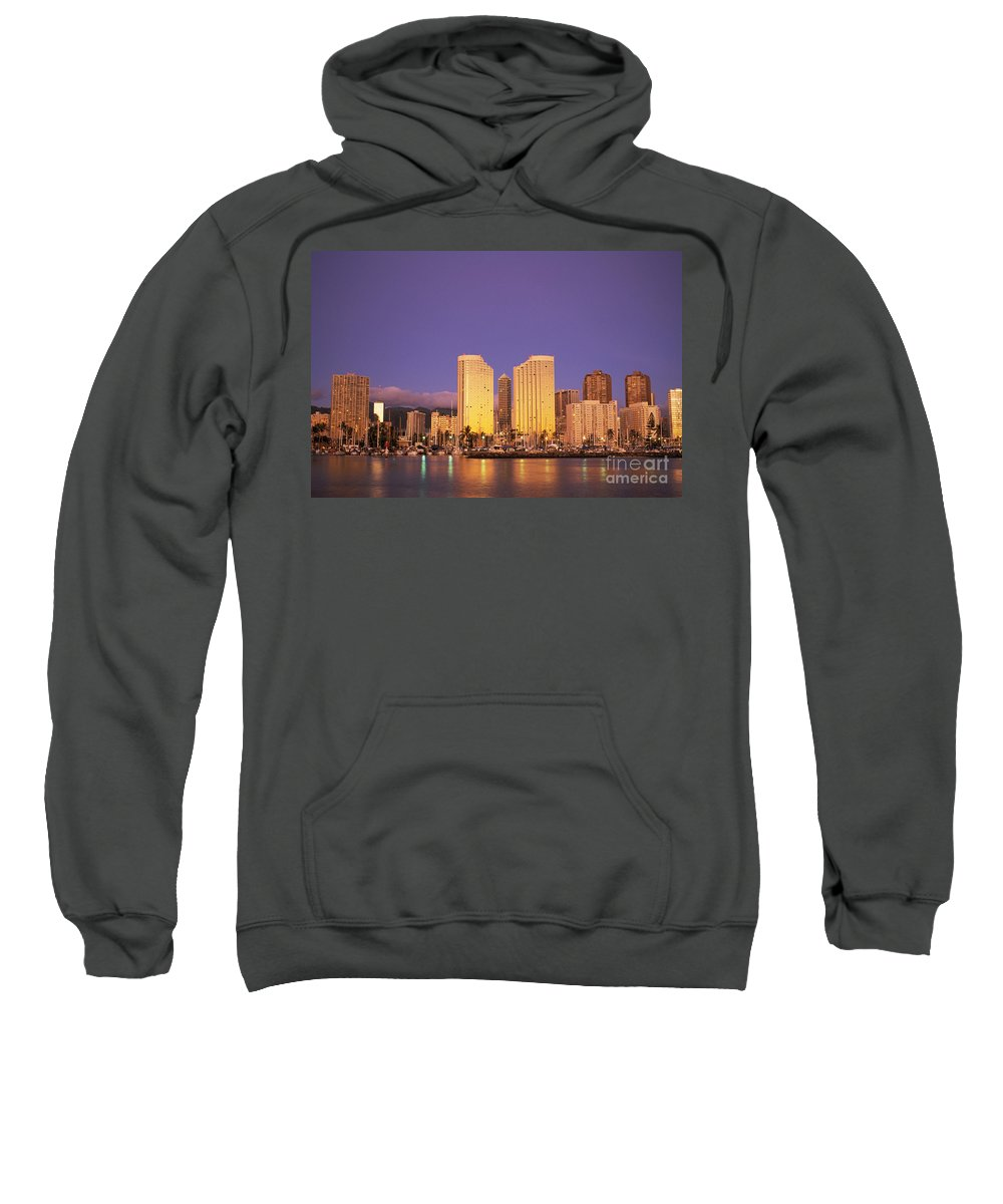 Ala Sweatshirt featuring the photograph Waikiki Skyline by Peter French - Printscapes
