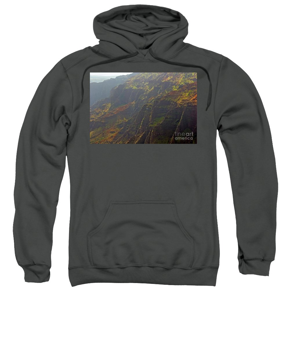 Landscape Sweatshirt featuring the photograph Waimea Canyon On A Misty Day In Kauai by Louise Heusinkveld