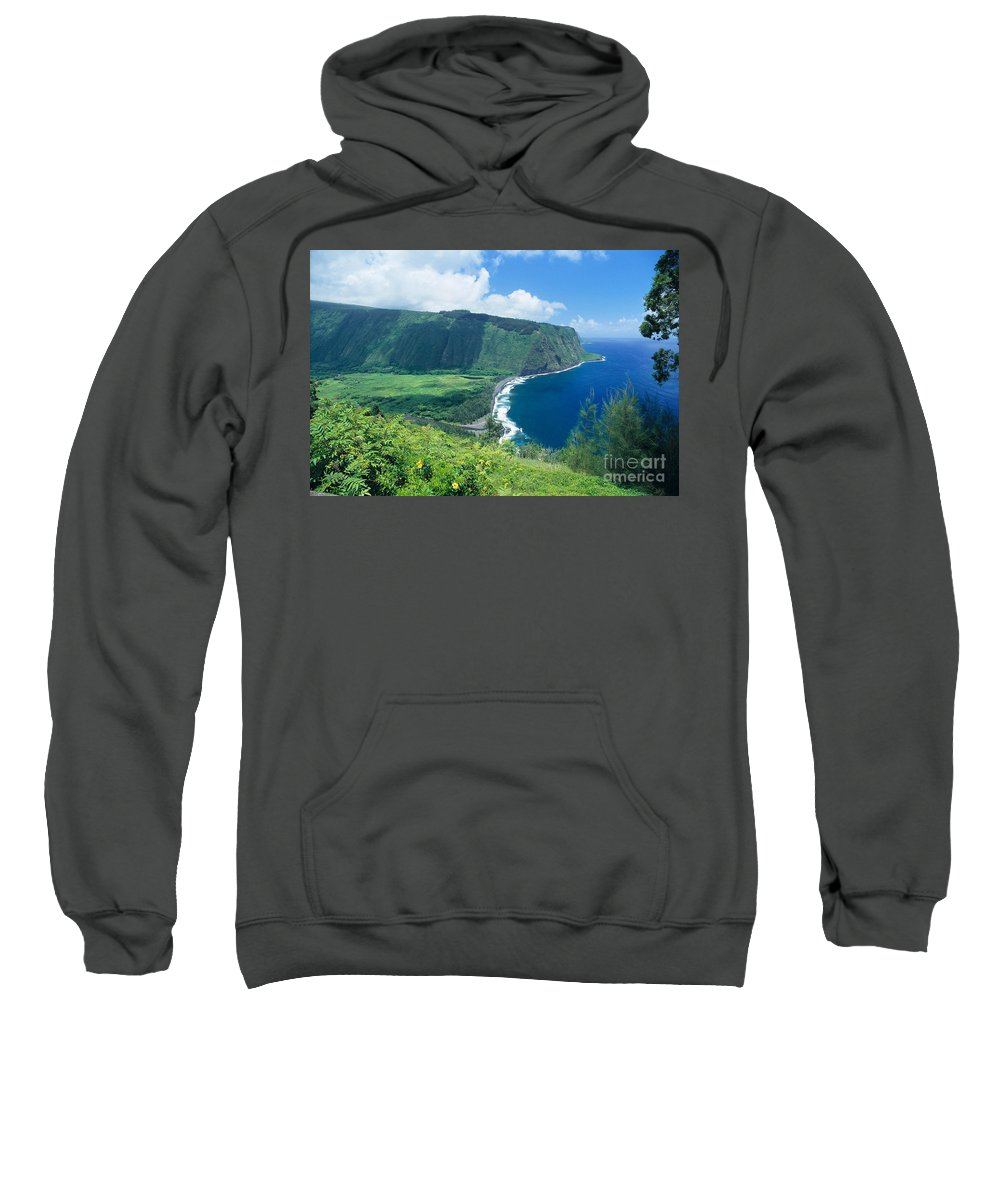 Aerial Sweatshirt featuring the photograph Waipio Valley Lookou by Greg Vaughn - Printscapes