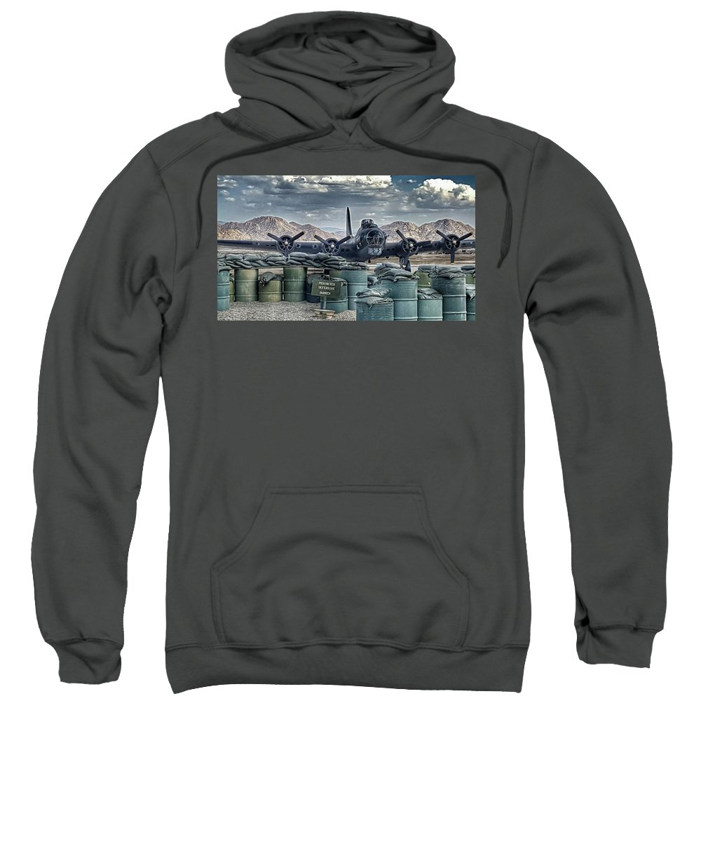 Boeing B-17g Flying Fortress Sweatshirt featuring the photograph Waiting For A Mission by Tommy Anderson
